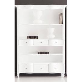 Белый книжный шкаф со стеклом