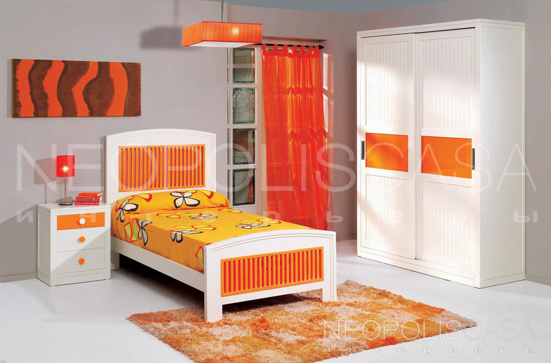 Детская, отделка белый и оранжевый матовый лак испанская меб.